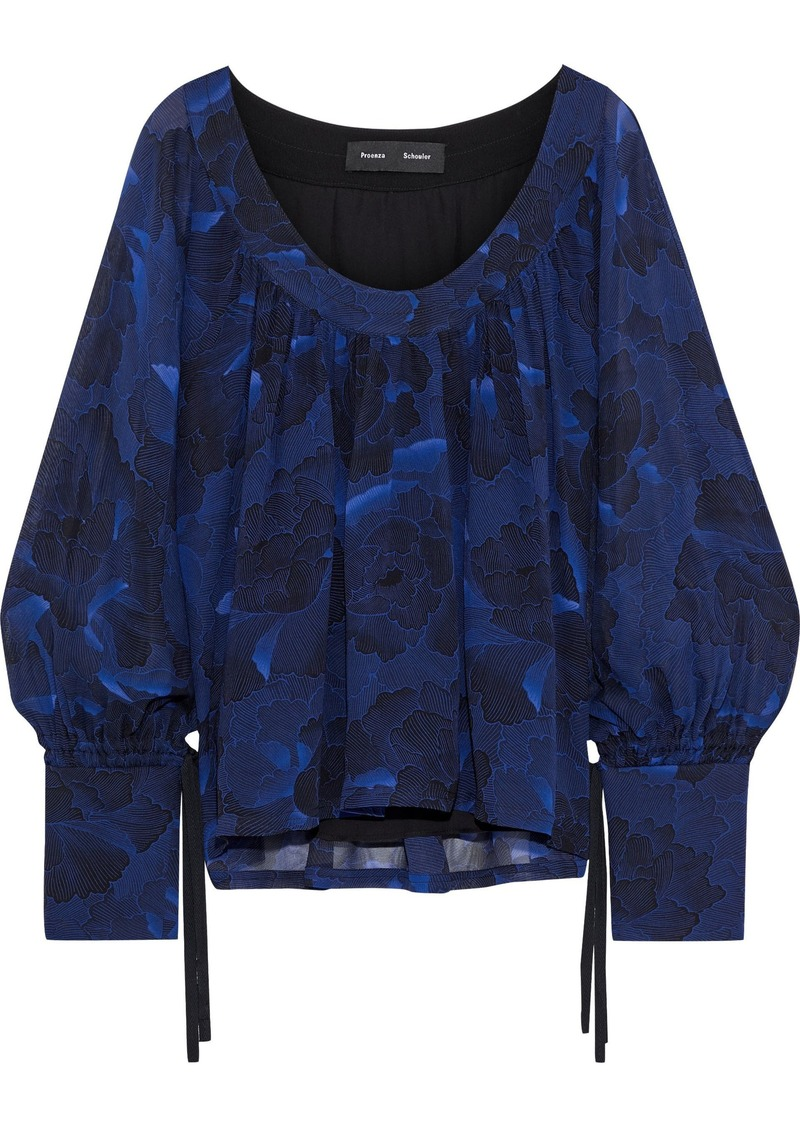 Proenza Schouler Woman Gathered Floral-print Silk-crepe Blouse Cobalt Blue