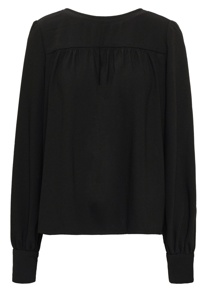 Proenza Schouler Woman Gathered Textured-crepe Top Black