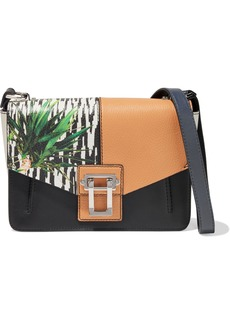 Proenza Schouler Woman Hava Color-block Smooth And Textured-leather Shoulder Bag Black