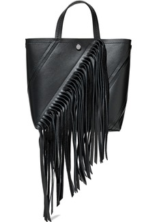 Proenza Schouler Woman Hex Small Fringed Paneled Leather Tote Black
