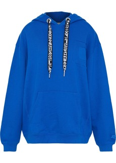 Proenza Schouler Woman Jacquard-trimmed French Cotton-terry Hoodie Cobalt Blue