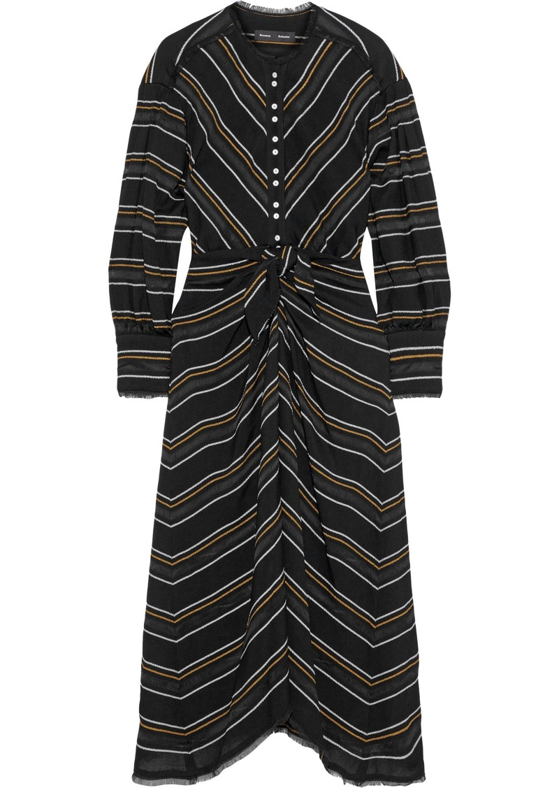 Proenza Schouler Woman Striped Crepe Midi Dress Black