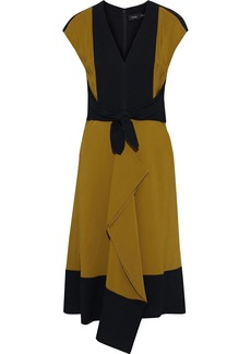 Proenza Schouler Woman Cady-paneled Draped Knotted Two-tone Crepe Dress Army Green