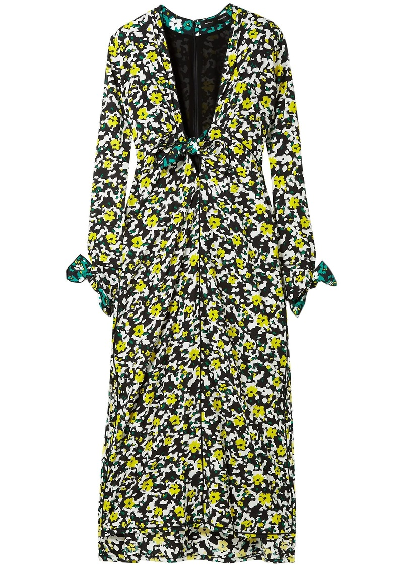 Proenza Schouler Woman Knotted Floral-print Crepe Midi Dress Forest Green