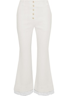 Proenza Schouler Woman Lace-trimmed Cady Kick-flare Pants Off-white