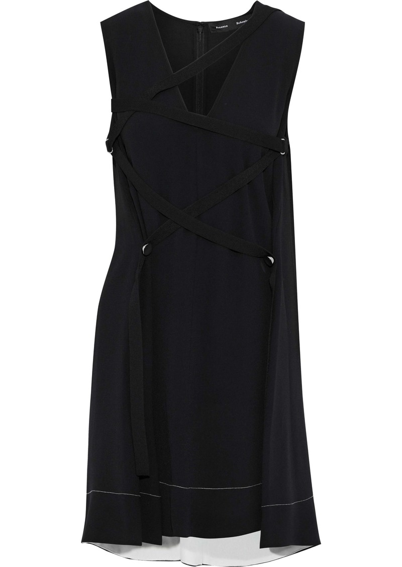 Proenza Schouler Woman Lace-up Crepe Mini Dress Black