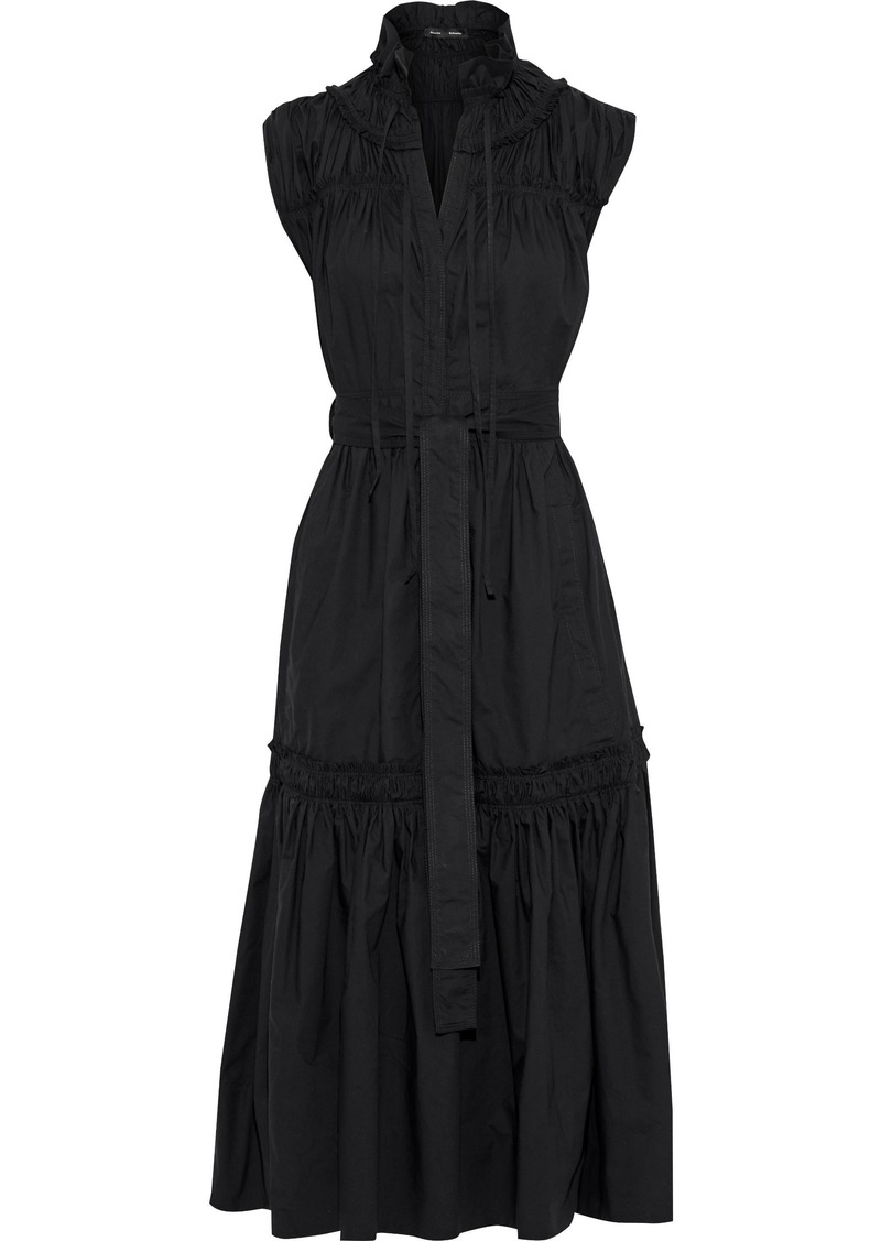 Proenza Schouler Woman Lace-up Gathered Cotton-poplin Midi Dress Black