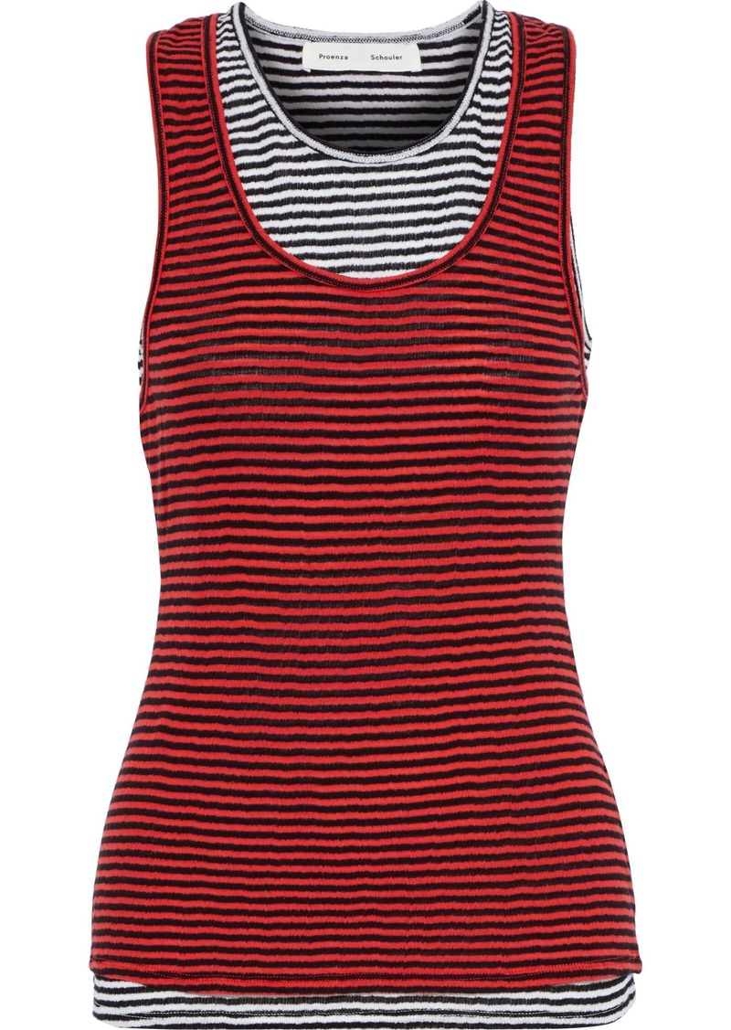Proenza Schouler Woman Layered Striped Cotton-jersey Tank Tomato Red