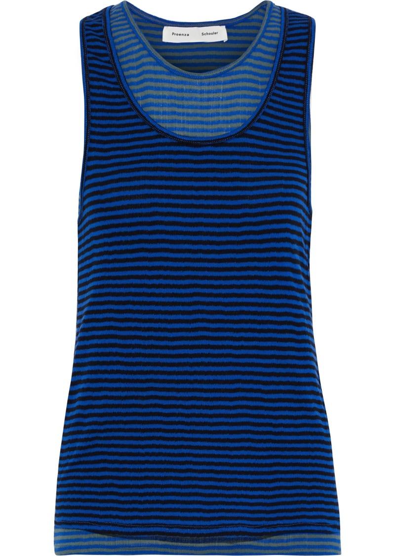 Proenza Schouler Woman Layered Striped Cotton-jersey Tank Royal Blue