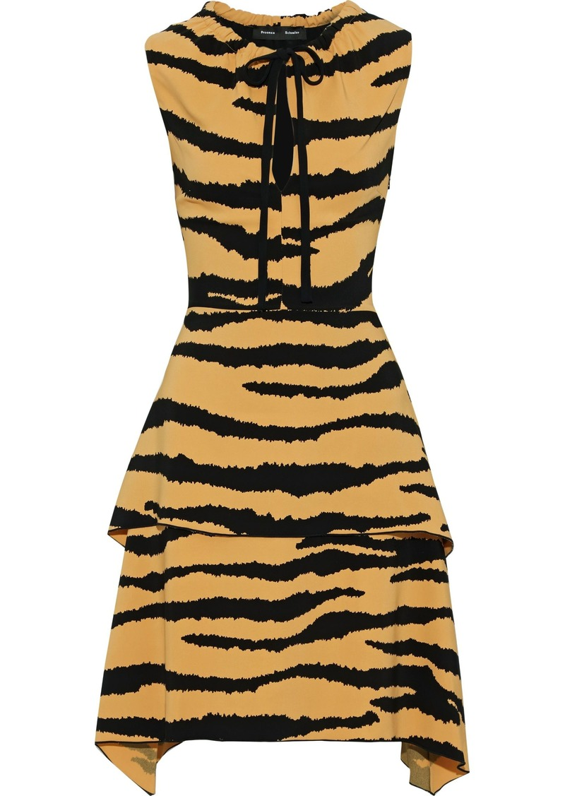 Proenza Schouler Woman Layered Tiger-print Cady Dress Pastel Orange