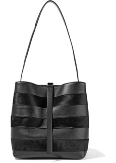 Proenza Schouler Woman Frame Striped Leather And Calf Hair Shoulder Bag Black