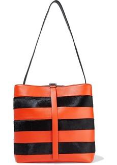 Proenza Schouler Woman Frame Striped Leather And Calf Hair Shoulder Bag Orange