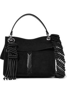 Proenza Schouler Woman Leather-trimmed Suede Shoulder Bag Black