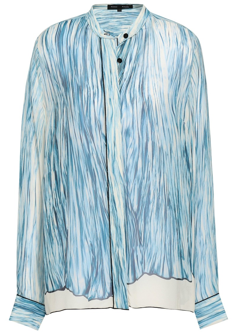 Proenza Schouler Woman Printed Silk-georgette Blouse Sky Blue