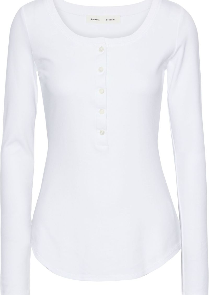 Proenza Schouler Woman Button-detailed Cutout Cotton-jersey Top White