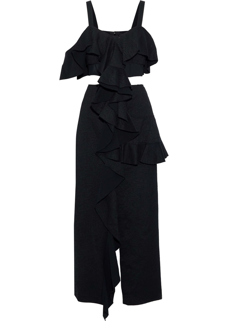 Proenza Schouler Woman Mesh-paneled Cutout Cotton-blend Jacquard Maxi Dress Black