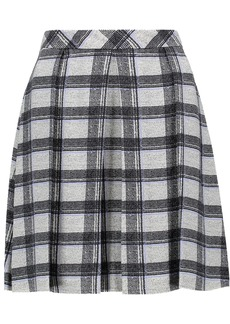 Proenza Schouler Woman Pleated Checked Crepe Mini Skirt Stone