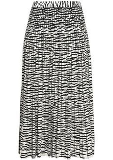 Proenza Schouler Woman Pleated Intarsia-knit Midi Skirt Black