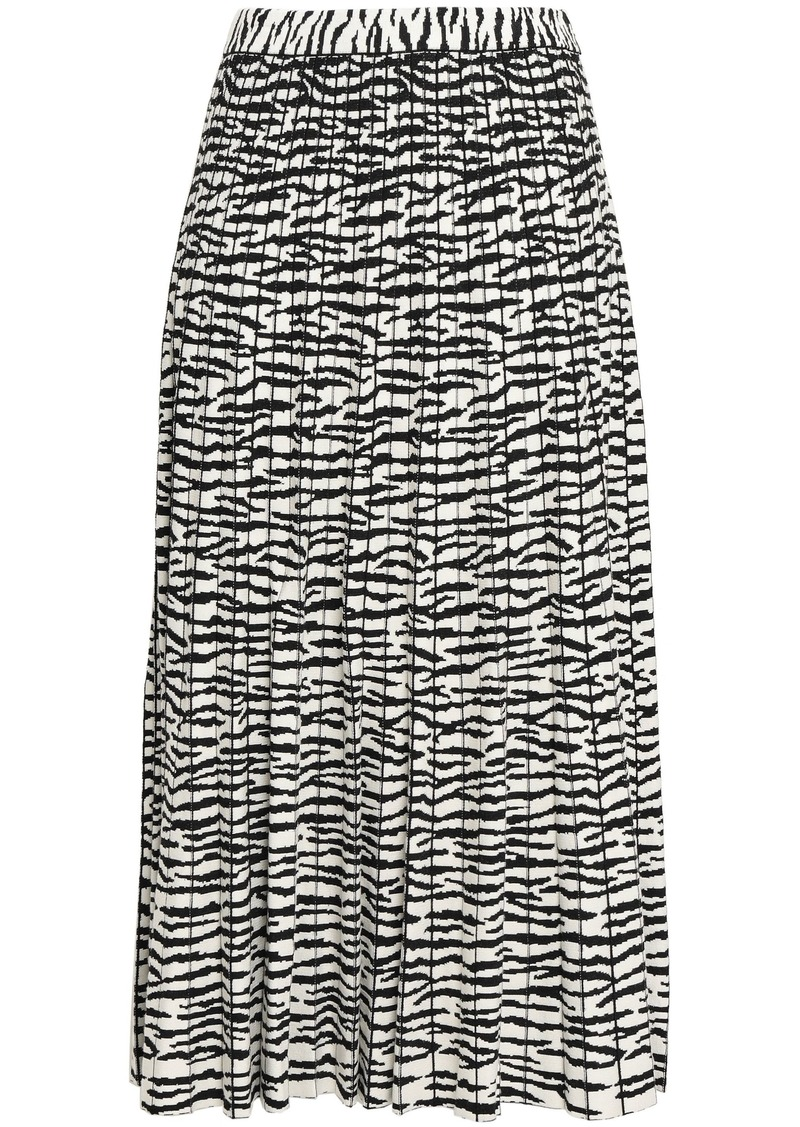 Proenza Schouler Woman Pleated Intarsia-knit Midi Skirt Black