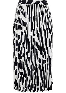 Proenza Schouler Woman Pleated Jacquard-knit Midi Skirt Animal Print