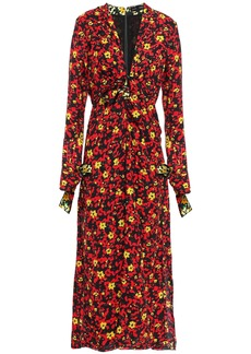 Proenza Schouler Woman Pleated Knotted Floral-print Crepe Midi Dress Black