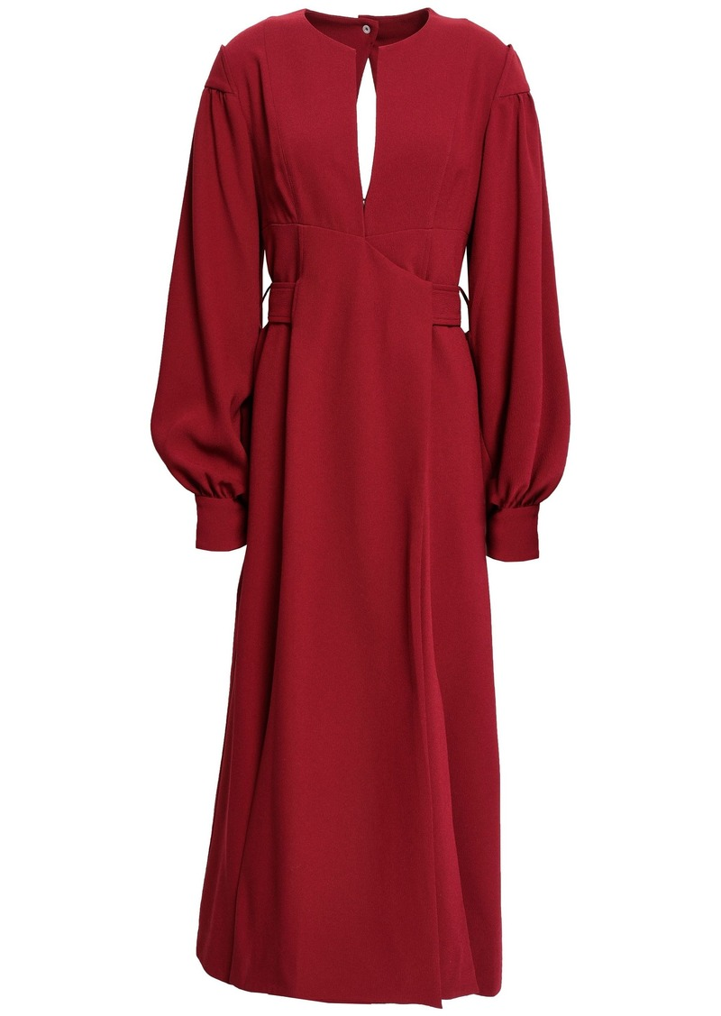 Proenza Schouler Woman Cutout Pleated Textured-crepe Midi Dress Claret