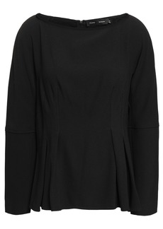Proenza Schouler Woman Pleated Textured-crepe Top Black