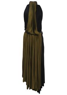 Proenza Schouler Woman Pleated Two-tone Stretch-jersey Midi Dress Black