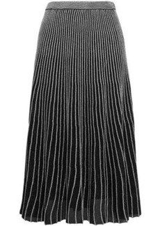 Proenza Schouler Woman Plissé Metallic Stretch-knit Midi Skirt Black