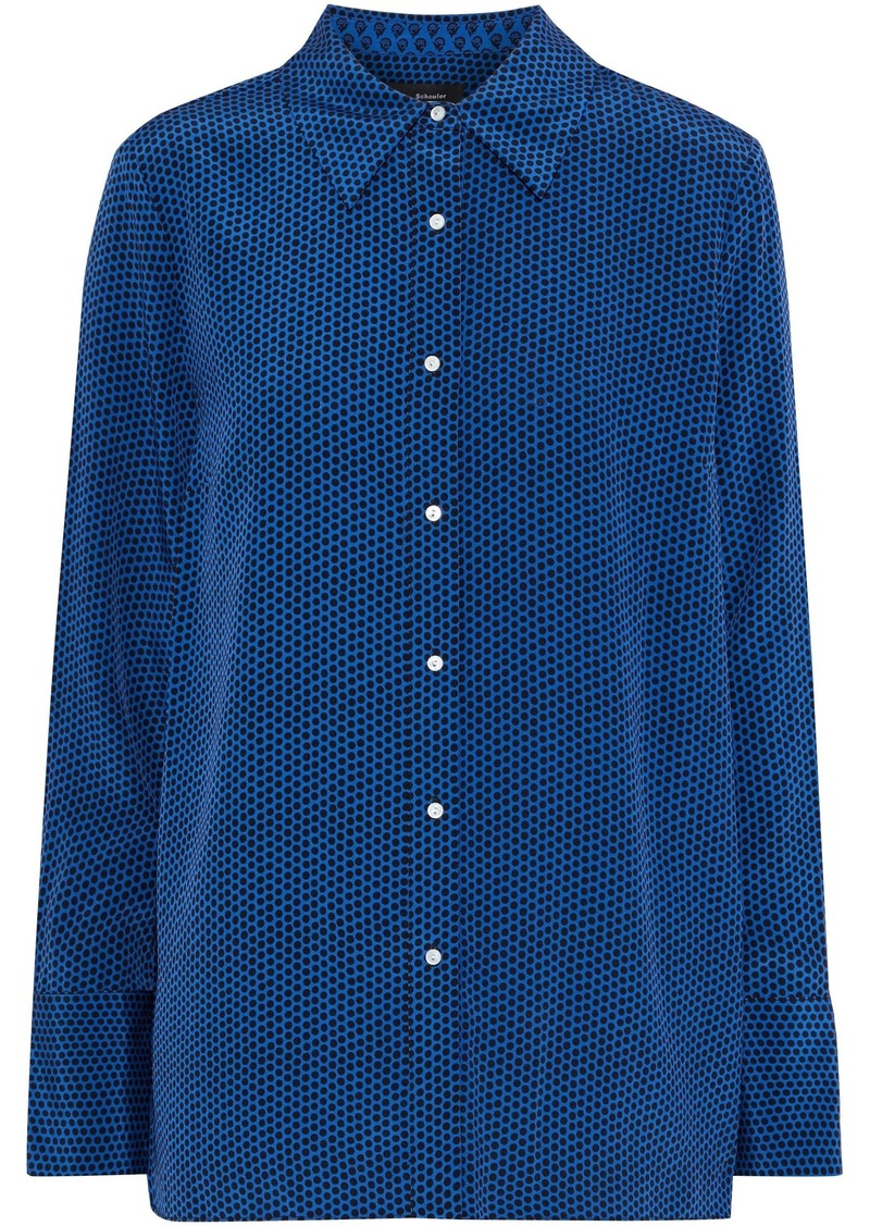 Proenza Schouler Woman Polka-dot Silk Shirt Blue