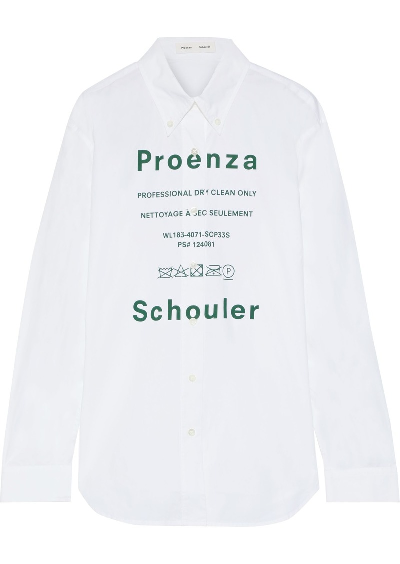 Proenza Schouler Woman Printed Cotton-poplin Shirt White
