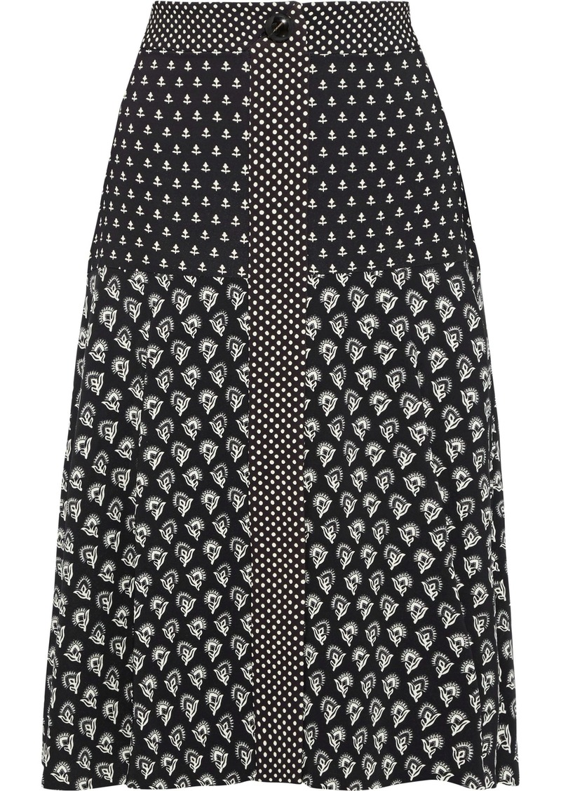 Proenza Schouler Woman Printed Crepe De Chine Skirt Black