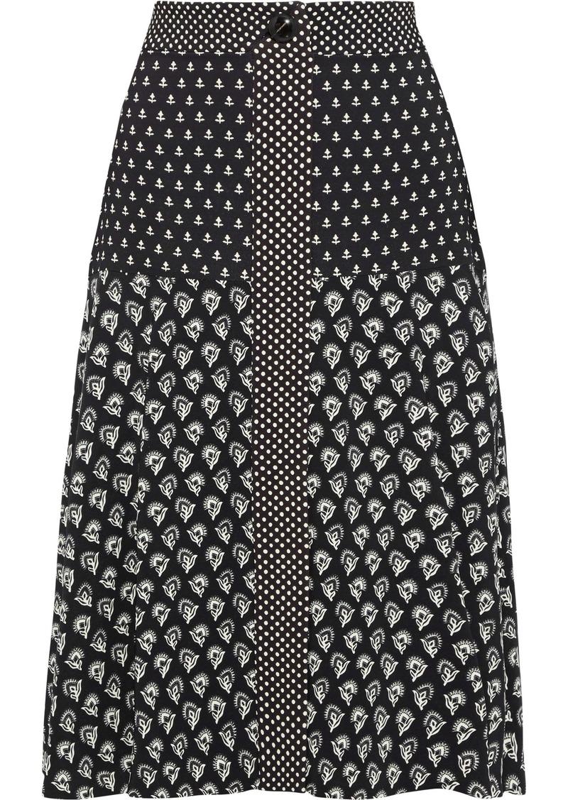 Proenza Schouler Woman Printed Crepe De Chine Skirt Black