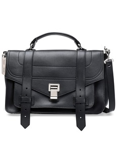 Proenza Schouler Woman Ps1 Textured-leather Shoulder Bag Black