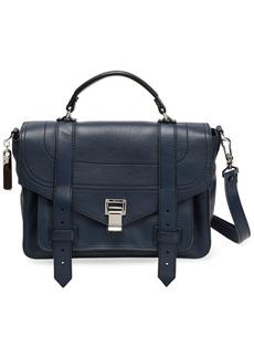 Proenza Schouler Woman Ps1 Textured-leather Shoulder Bag Navy