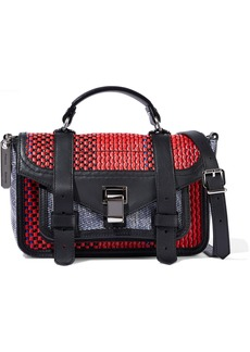 Proenza Schouler Woman Ps1+ Tiny Raffia Leather And Coated Canvas Shoulder Bag Red
