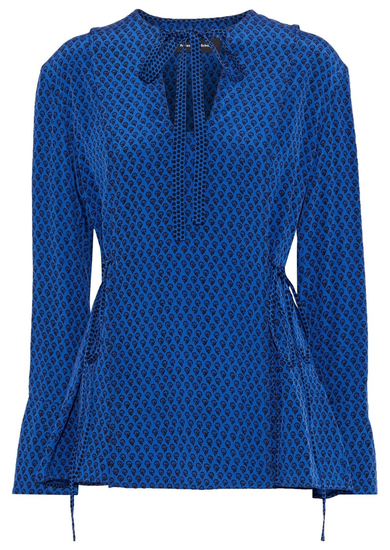 Proenza Schouler Woman Pussy-bow Pintucked Floral-print Silk Blouse Blue