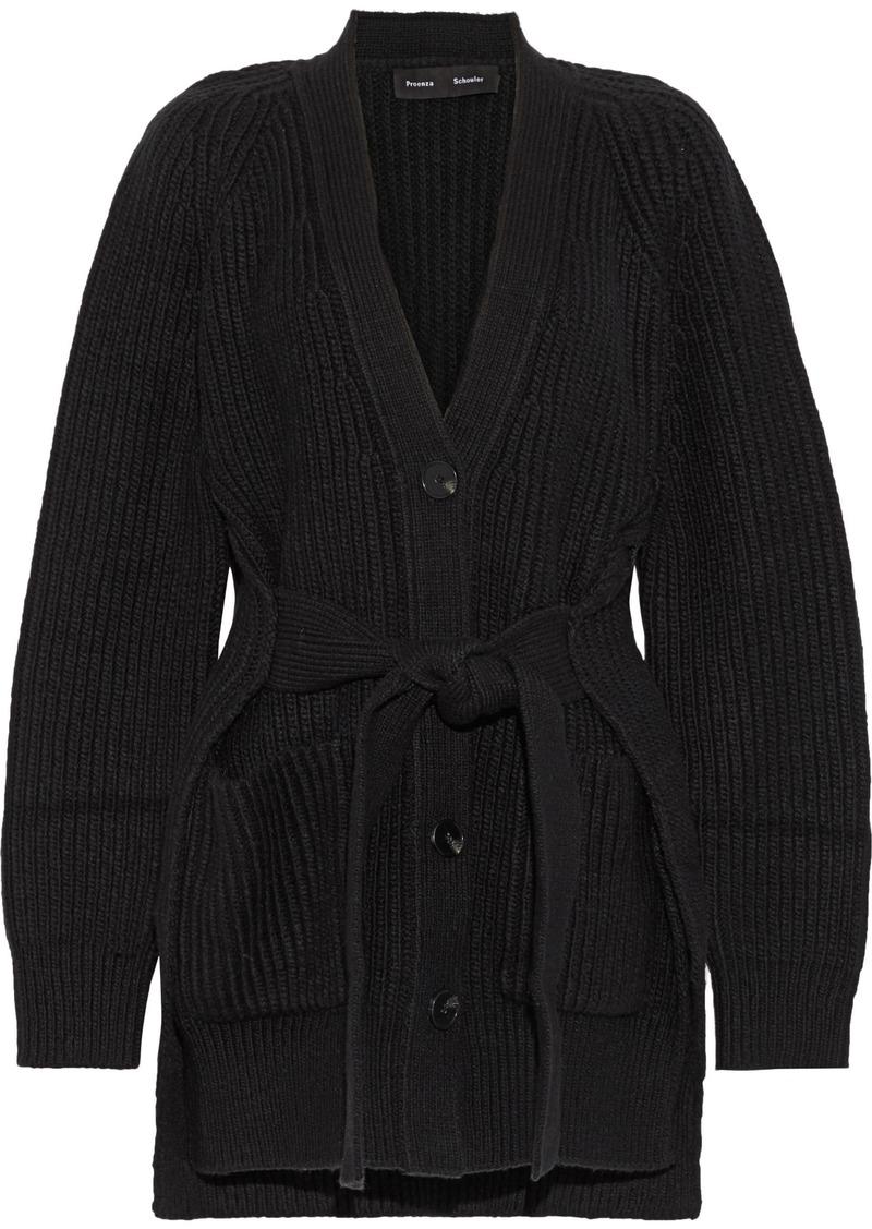 Proenza Schouler Woman Ribbed Cotton-blend Cardigan Black