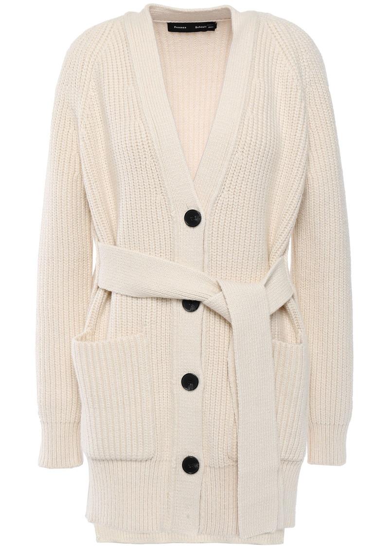 Proenza Schouler Woman Ribbed Cotton-blend Cardigan Ecru