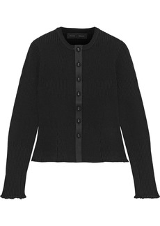 Proenza Schouler Woman Ribbed-knit Peplum Cardigan Black