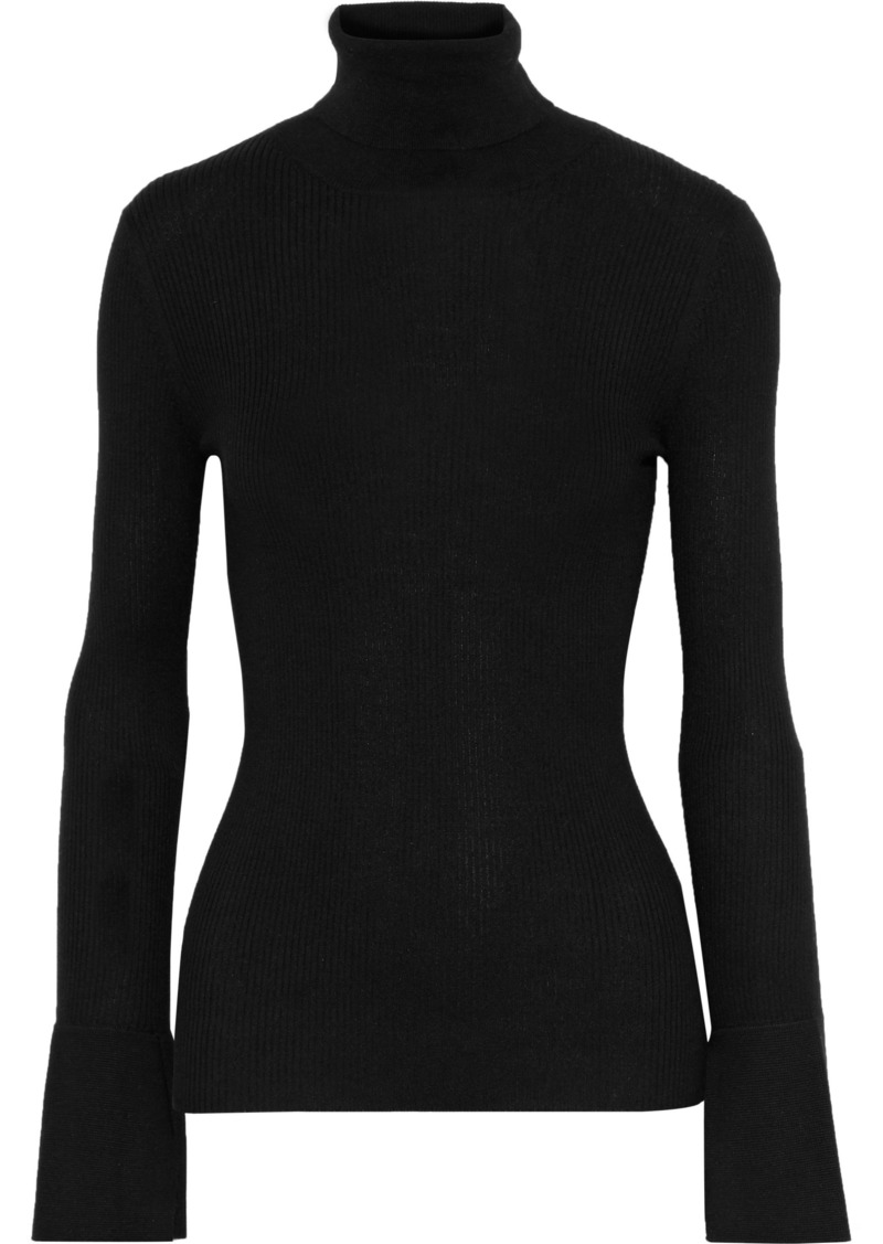 Proenza Schouler Woman Ribbed Silk And Cashmere-blend Turtleneck Sweater Black