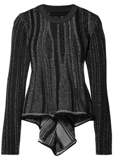 Proenza Schouler Woman Ribbed Stretch-knit Peplum Sweater Black