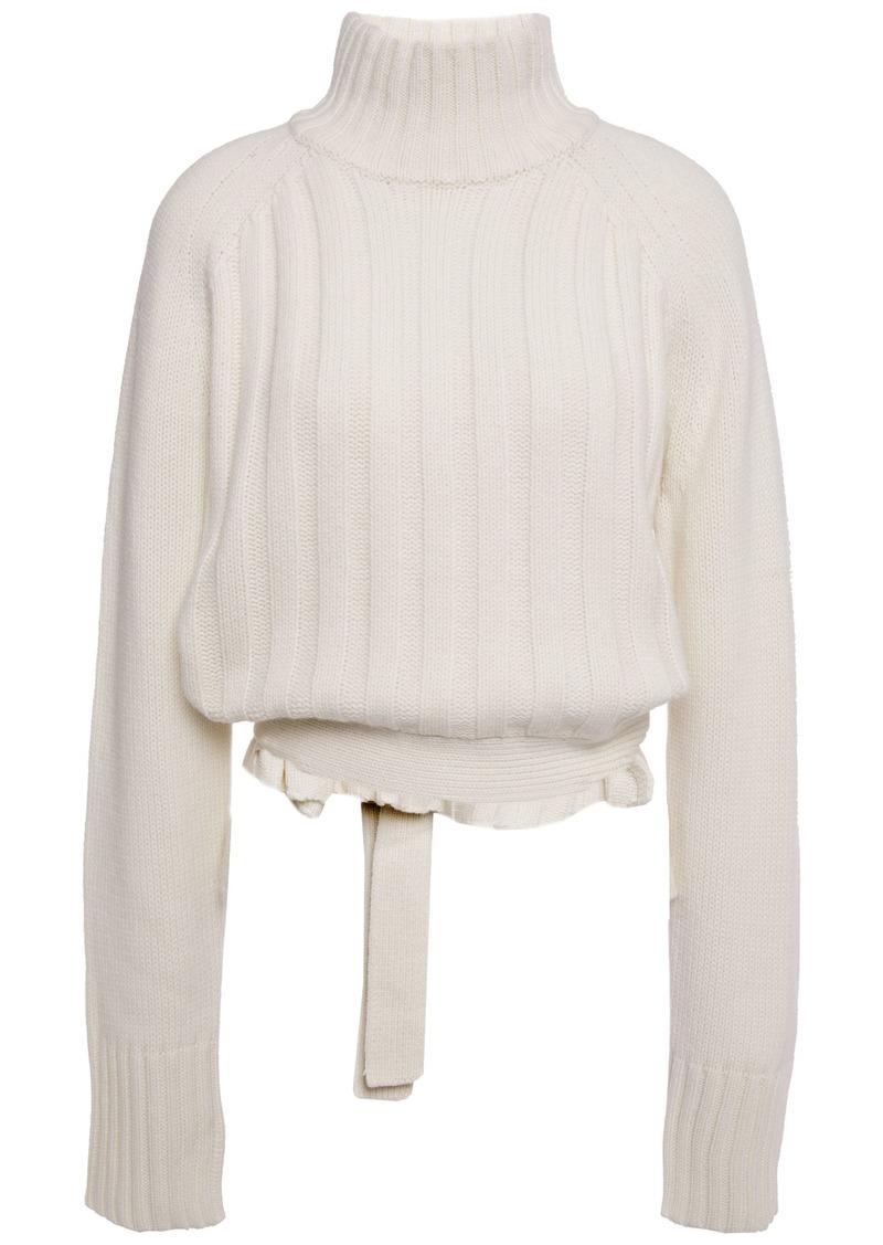 Proenza Schouler Woman Ribbed Wool And Cashmere-blend Turtelneck Sweater Ecru
