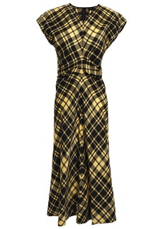 Proenza Schouler Woman Ruched Checked Crinkled-twill Dress Yellow