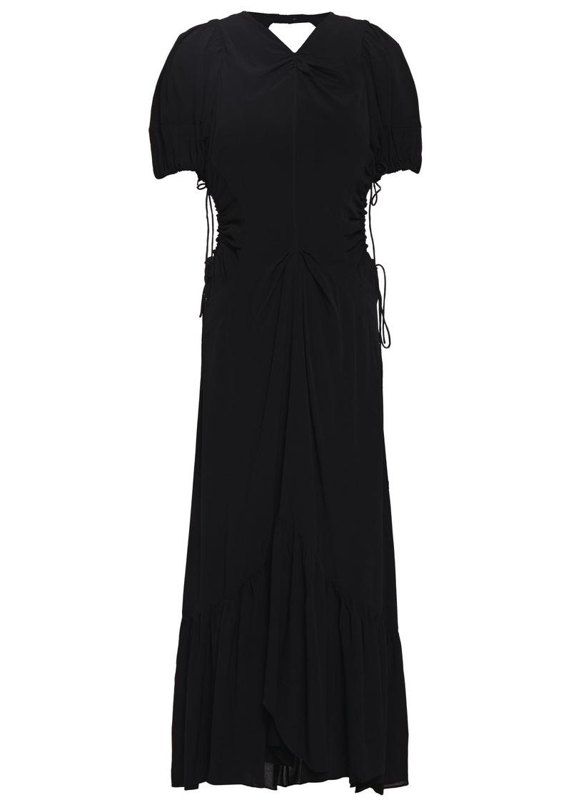 Proenza Schouler Woman Ruched Cutout Crepe De Chine Midi Dress Black
