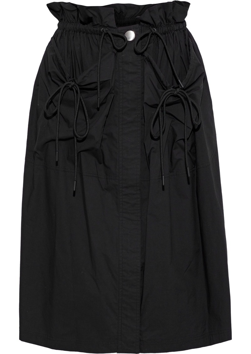 Proenza Schouler Woman Ruffle-trimmed Cotton-poplin Skirt Black
