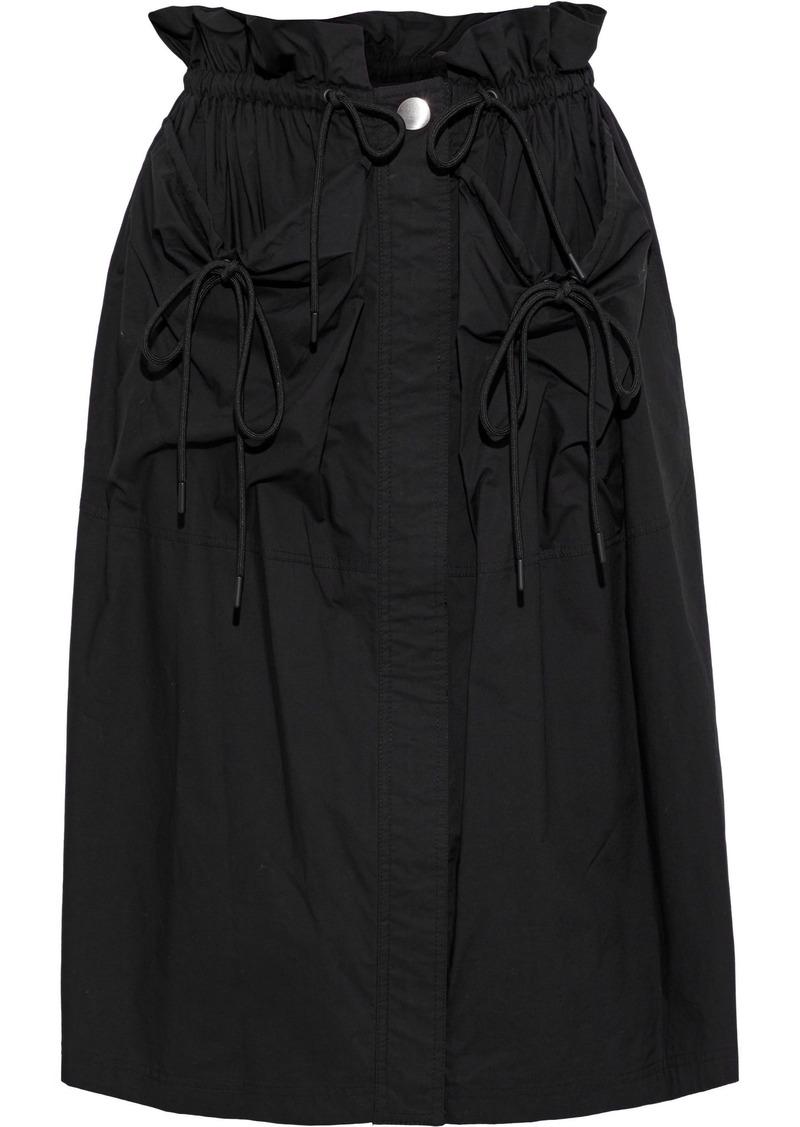Proenza Schouler Woman Ruffle-trimmed Cotton-poplin Skirt Black