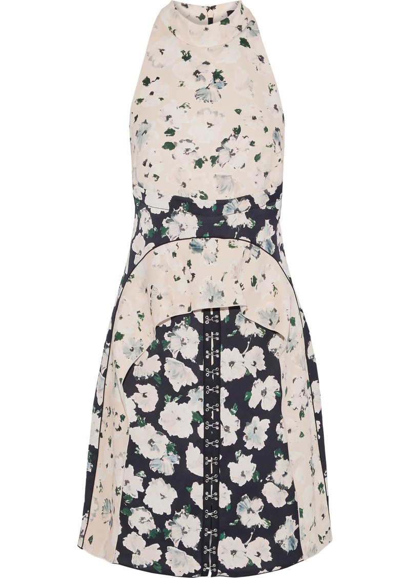 Proenza Schouler Woman Ruffle-trimmed Floral-print Crepe De Chine Dress Cream