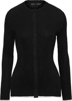 Proenza Schouler Woman Ruffle-trimmed Ribbed-knit Cardigan Black