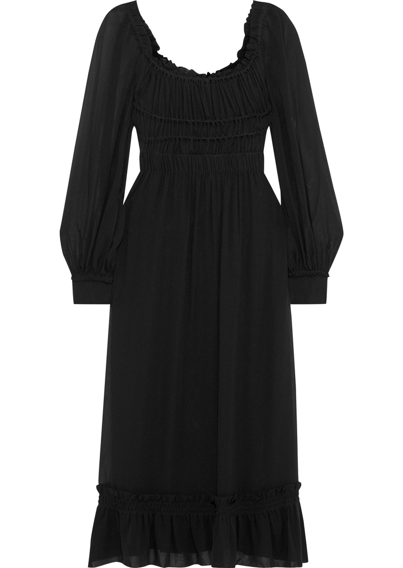 Proenza Schouler Woman Ruffle-trimmed Ruched Silk-georgette Midi Dress Black